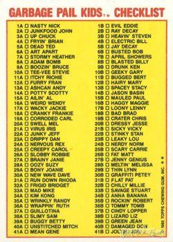 Garbage Pail Kids Original Series 1 Checklist Garbage Pail Kids Garbage Pail Kids Cards Pail