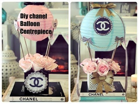 diy hot air balloon chanel table centrepiece youtube veil diy rh pinterest com Baby Shower Table Decorations Baby Shower Table Decorations