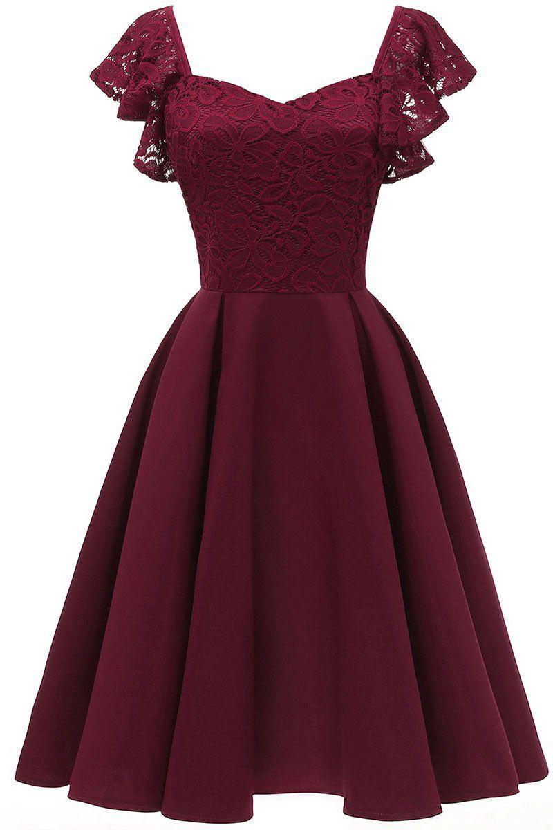 Burgund Cap Sleeves Satin Heimkehr Kleid in 10  Elegantes