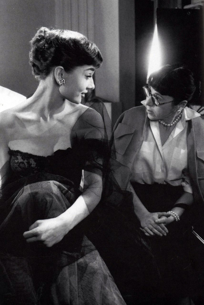 Edith Head & Audrey. Edith was an Oscar winning costume designer who worked on several of Audrey's movies including Roman Holiday, Sab...