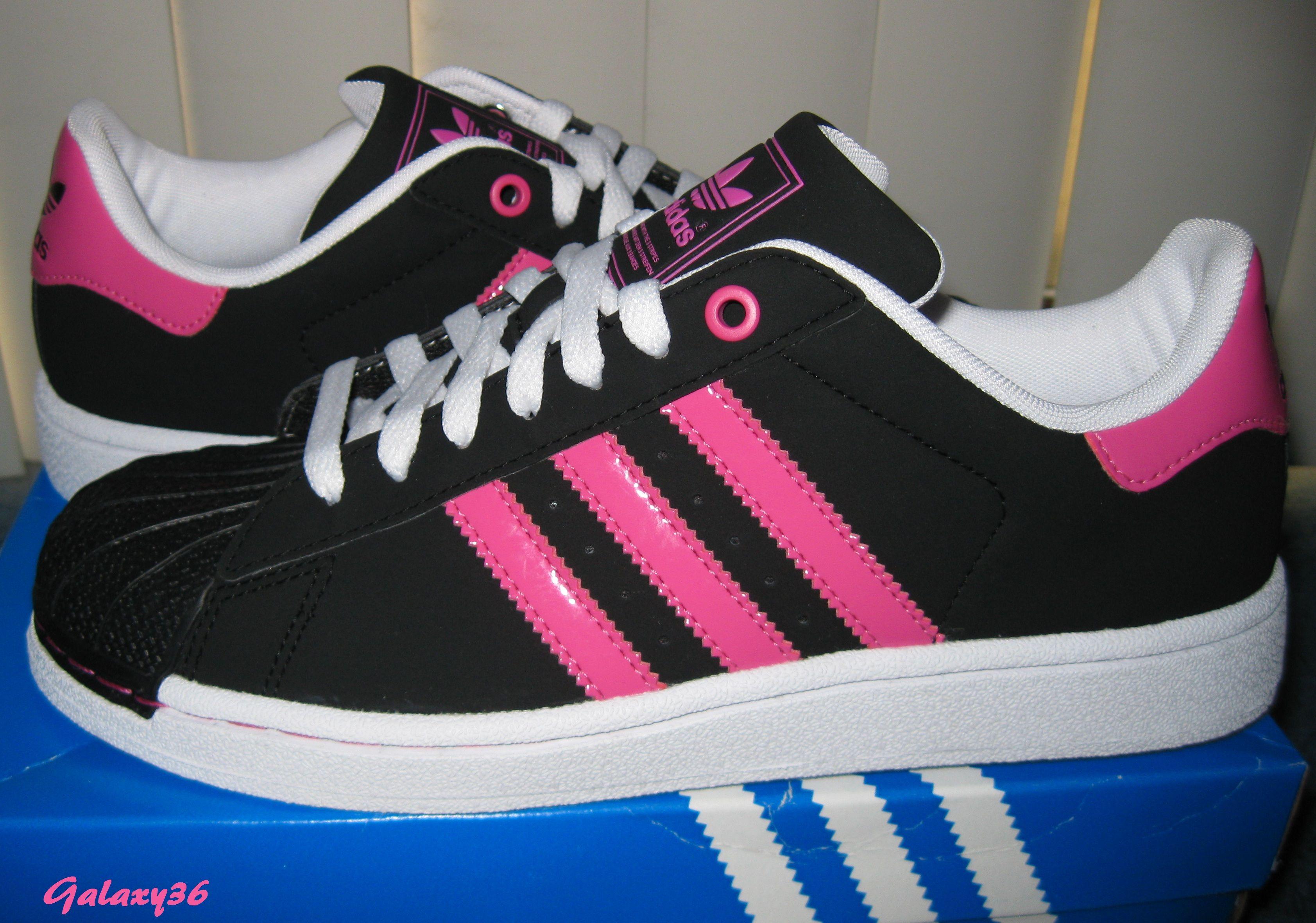 adidas superstar black and pink