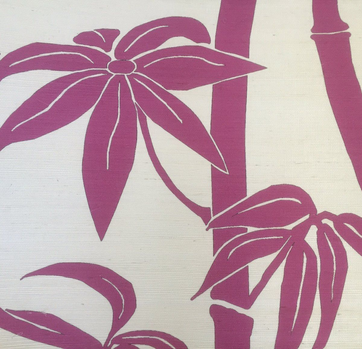Magenta Bamboo Grasscloth Wallpaper