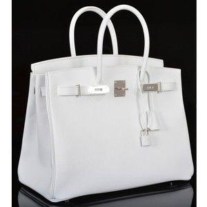 Hermès White Epsom 35cm Birkin Bag