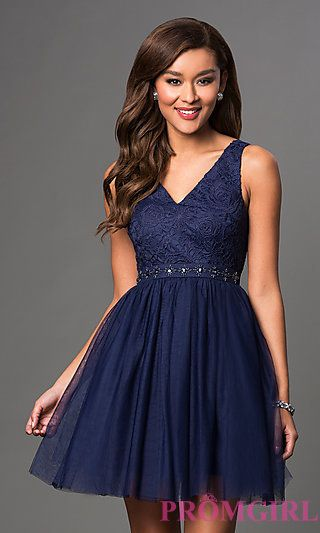 d6d8952a1b Short V-Neck Party Dress with Lace Embroidery at PromGirl.com