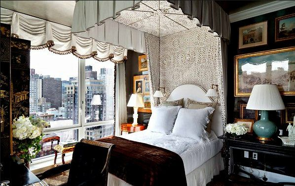 Room of the Day ~ a particularly pretty image of this chocolatey bedroom with turquoise accents - Alexa Hampton 10.30.2014