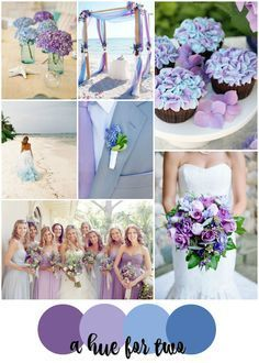 Lavender Purple And Light Blue Beach Wedding Colour Scheme