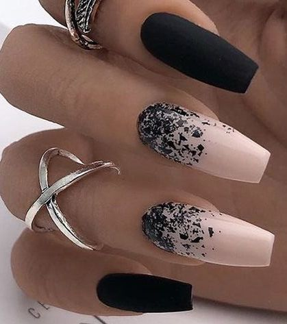 Inspiring Nail Art With Pink And Black Colors Ballerina Nails Designs Fall Manicure Ballerina Nails