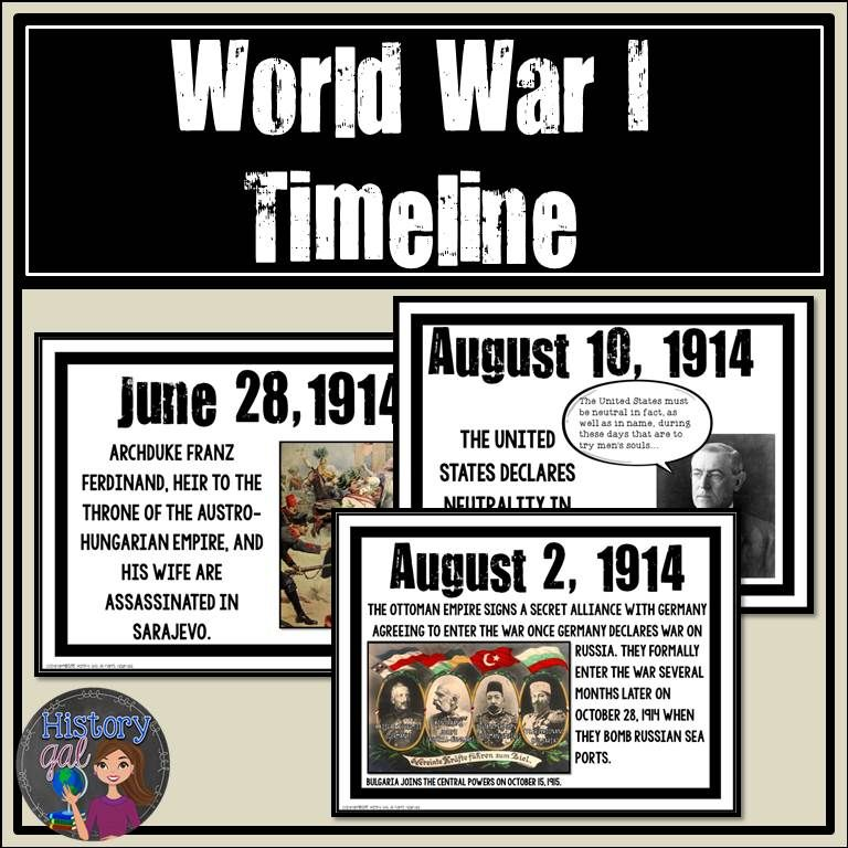 000 World War I Timeline {A Printable for Your Classroom
