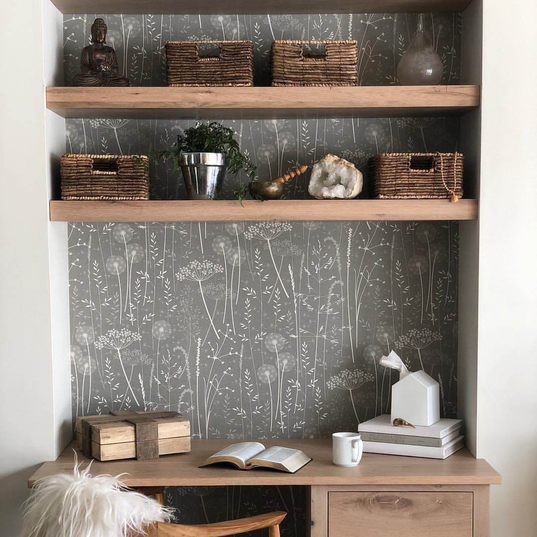A Lovely Use Of My Paper Meadow Wallpaper In Charcoal In