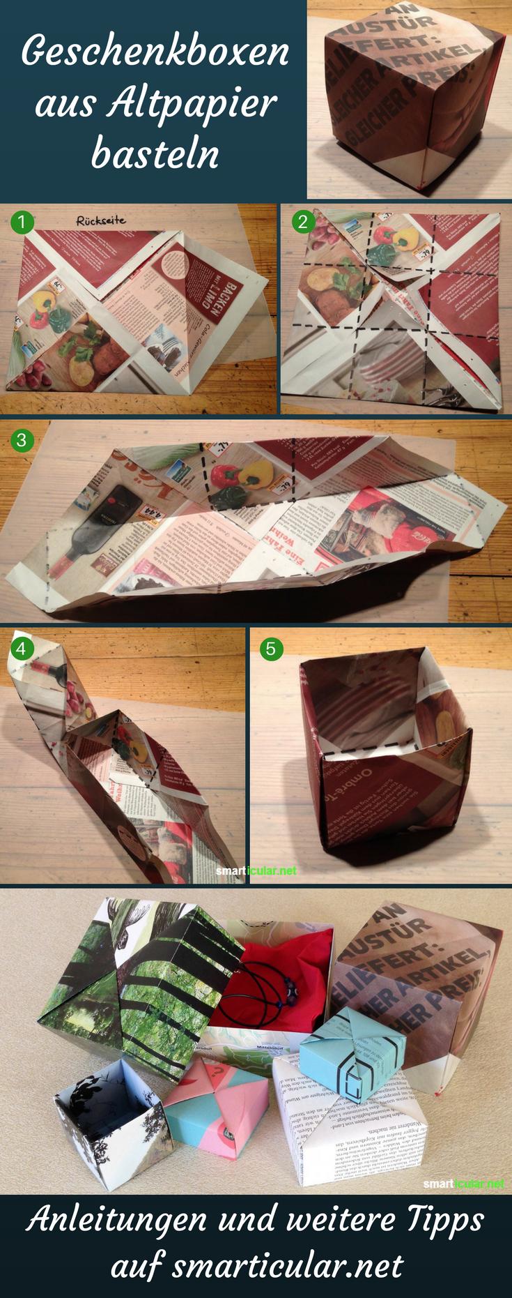 Schachtel falten aus (Alt-)Papier für Geschenke und zur Aufbewahrung