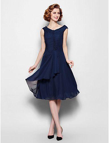 Sleeveless Chiffon Dress Tea Length Mother of the Bride