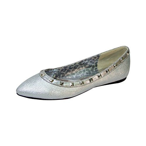ed5554bb74bb2f FIC FUZZY Emily Women Extra Wide Width Metallic Flat SILVER 9 *** Check  this awesome product by going to the link at the image. Note:It is  Affiliate Link to ...