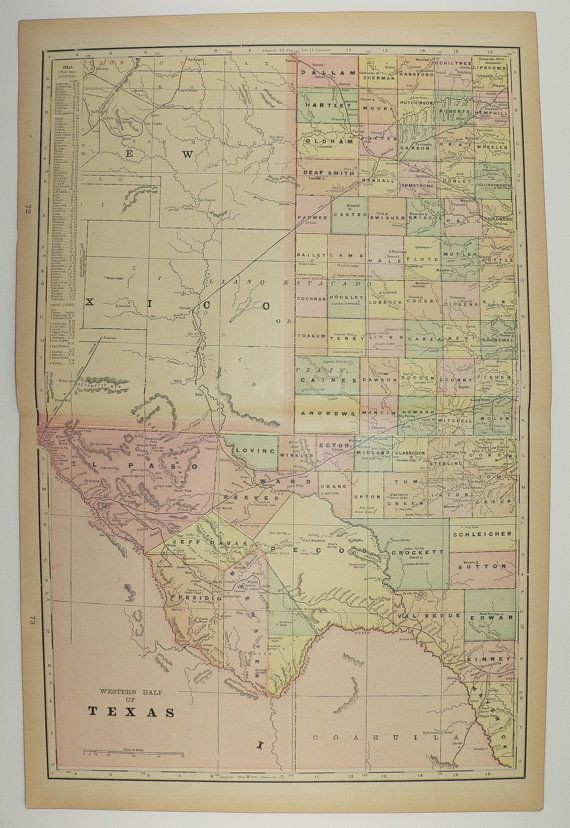 Map Of Texas Louisiana And Mississippi.1900 West Texas Map Louisiana Mississippi Map Antique Map Lone