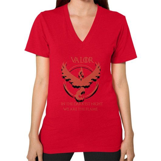 Team Valor - In Darkest Night We are the Flame V-Neck (on woman) Shirt