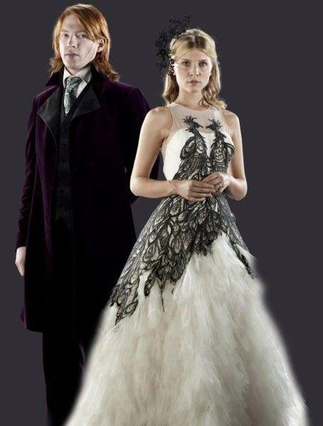 Fleur Delacour With Bill Weasley Wedding Dress Harry Potter