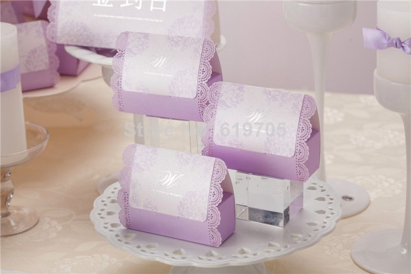 Free shipping New arrival Romantic purple lace candy box, wedding gifts box, gifts box party $85.00