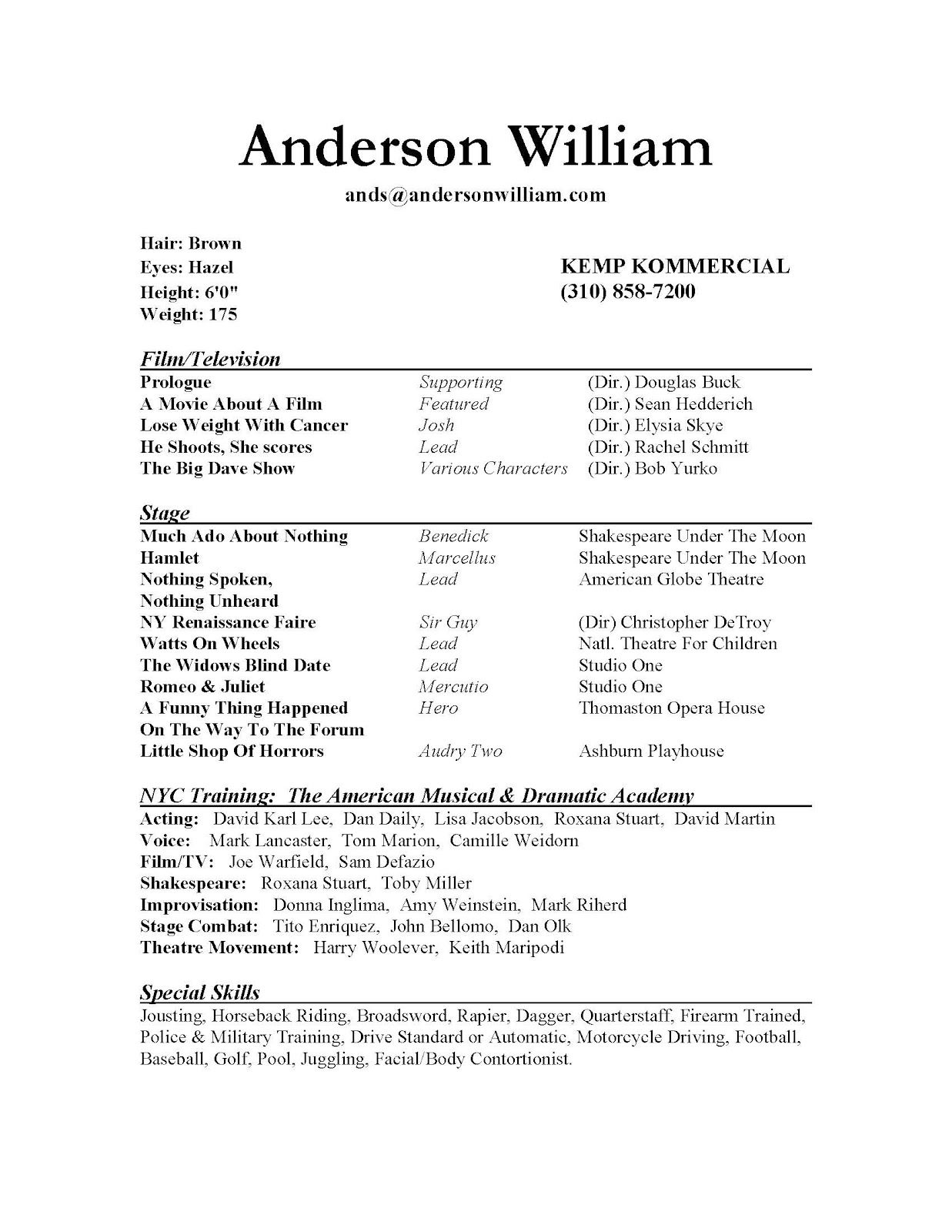theatre resume sample format download pdf student free templates ...