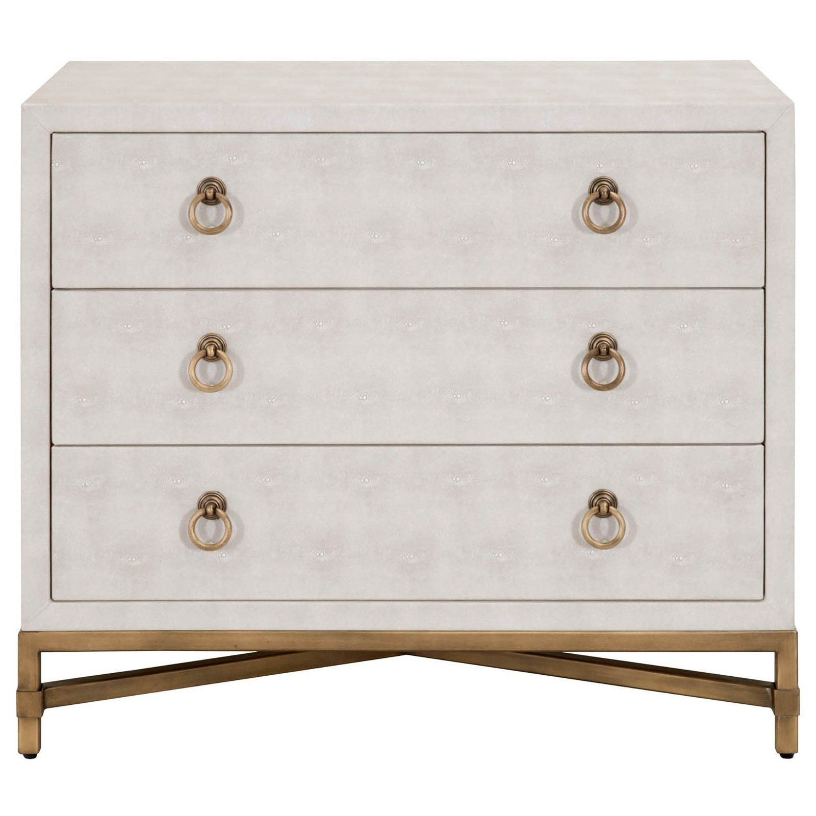 Candelabra Home Strand Shagreen 3 Drawer Nightstand White In 2020 Gold Nightstand Nightstand White Nightstand