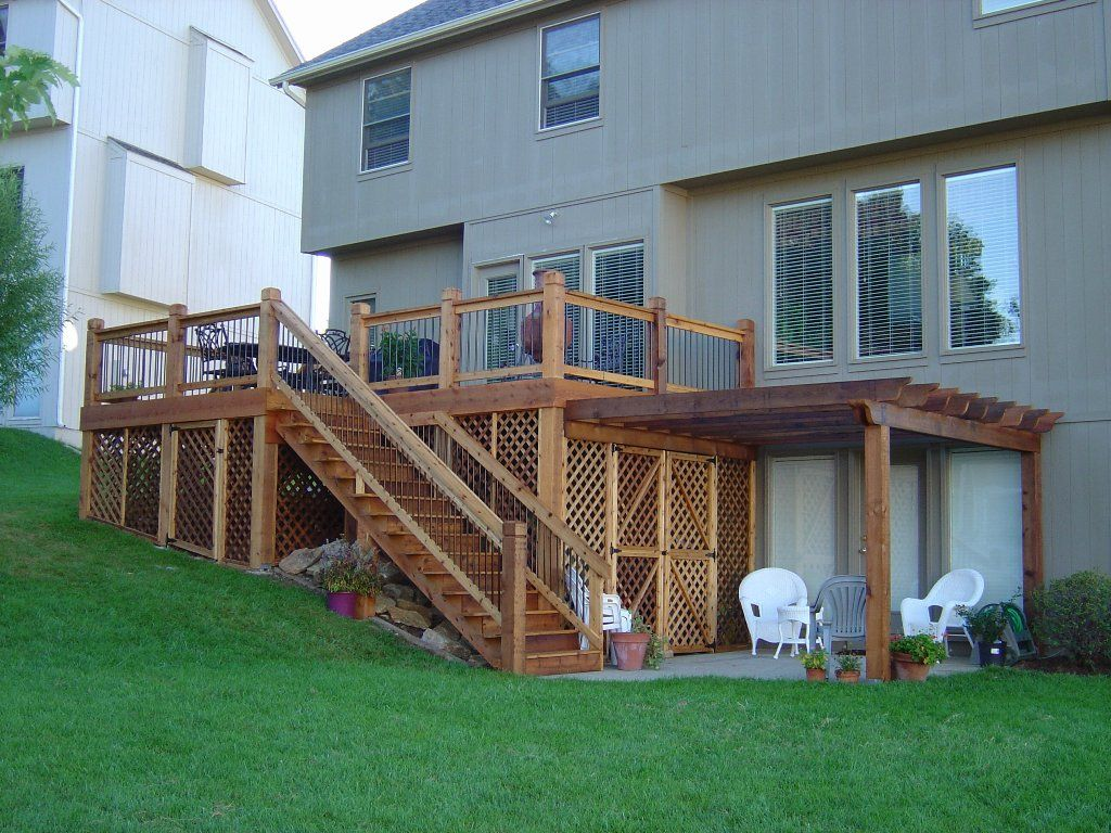 Western Red Cedar Deck Attached To Pergola With Cedar