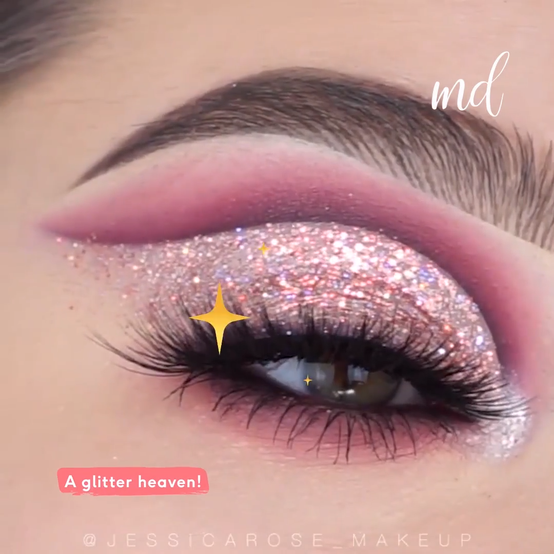 PINK GLITTERY EYES MAKEUP LOOK TUTORIAL