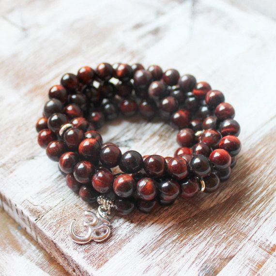 Mala Beads, Buddhist Necklace, OM Necklace, 108 Mala, Red Tiger Eye - Confidence, Self-esteem
