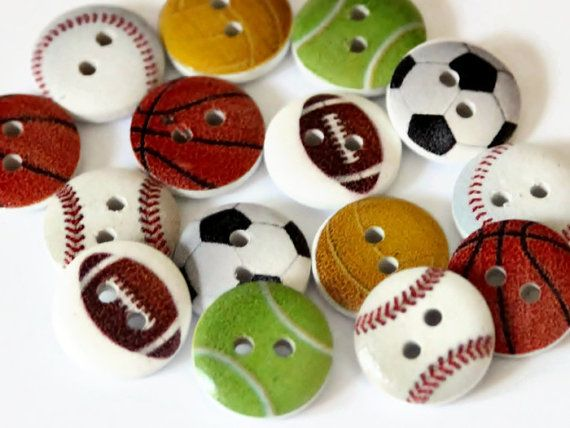 15mm Sports Football Basketball Baseball Painted Wooden 2 Holes Buttons Sewing