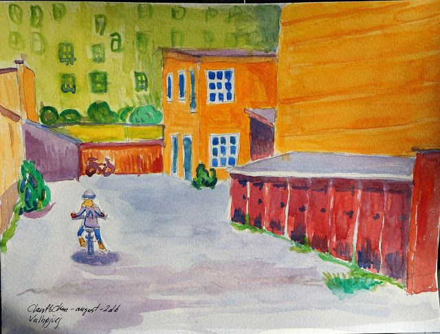 Little girl training her new bike - Watercolor - august 2016 - Claus Ib Olsen