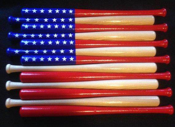 Baseball Bat Flag 18 Wood Bats Natural Finish