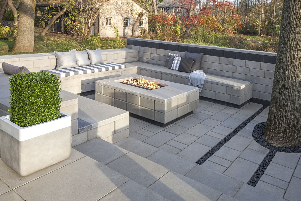 bare land to modern patio | landscaping products supplier | techo ... - Modern Patio Ideas