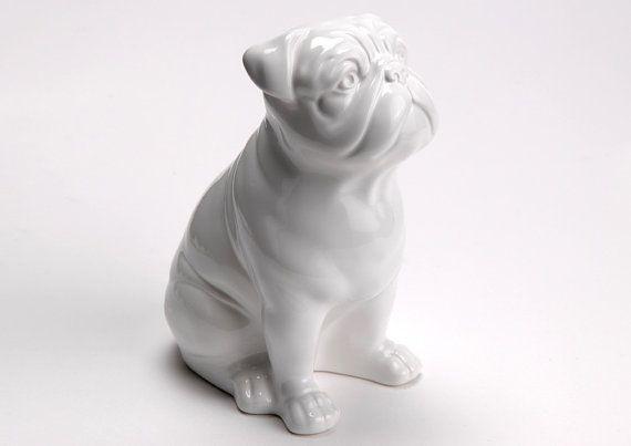 Statue Of English Bulldog White Ceramic By Animalbylaureterrier