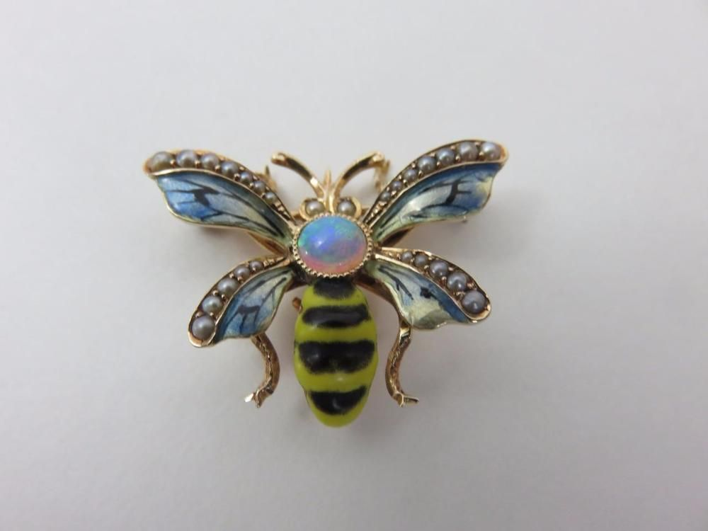 Lovely INSECT PIN 14K Gold Enamel Wings/Colorful Opal/Seed Pearls BEE BUG Watch