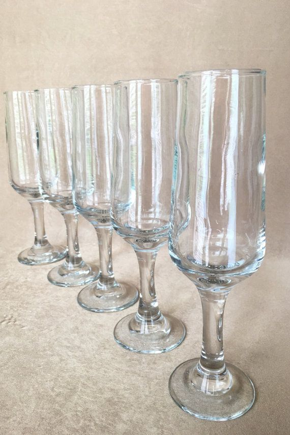 378920fda84 Champagne Flutes Modern Style Flutes Optic Glass by DotnBettys Vintage  Champagne