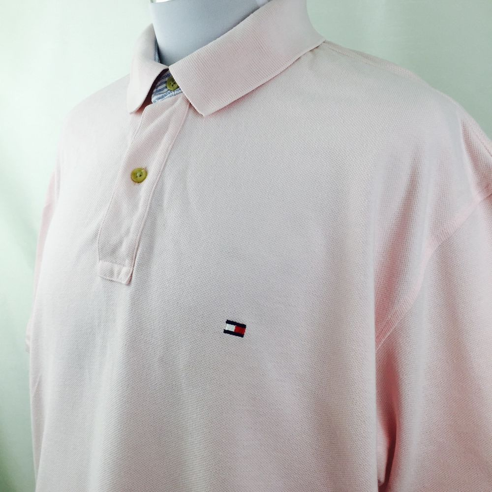 Tommy Hifiger Baby Pink Denim Sripe Collar Rugby Polo Shirt Mens XL #TommyHifiger #PoloRugby