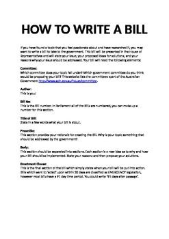 how to write a bill year 6 instructions and template school