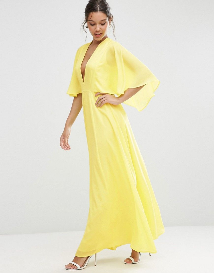 6a4c241aa06d Deep Plunge Cape Sleeve Maxi Dress by ASOS, Yellow Color. Maxi dress by ASOS