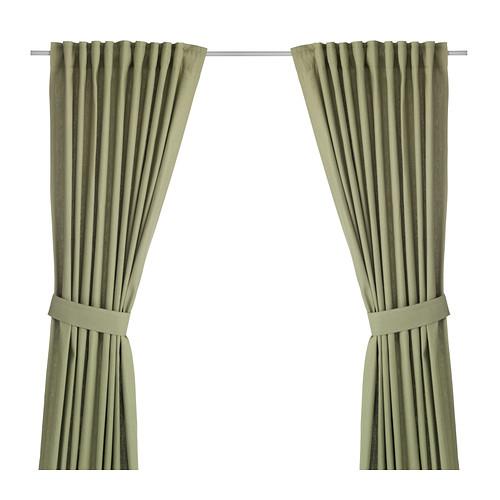 INGERT 2 Gardinen + Raffhalter, grün | Blickdichte gardinen