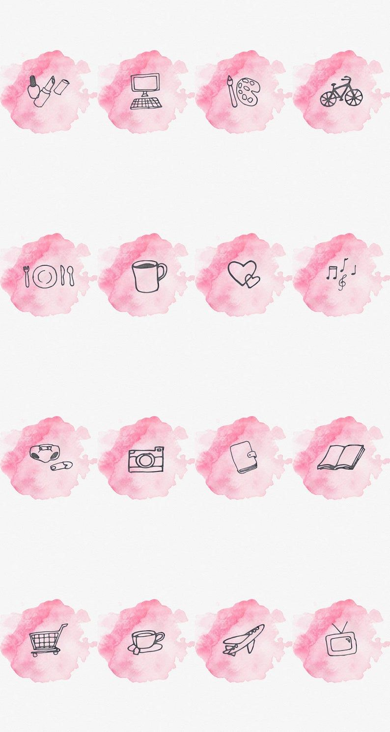 Instagram Story Highlight Cover Set Of 16 Pink Watercolor