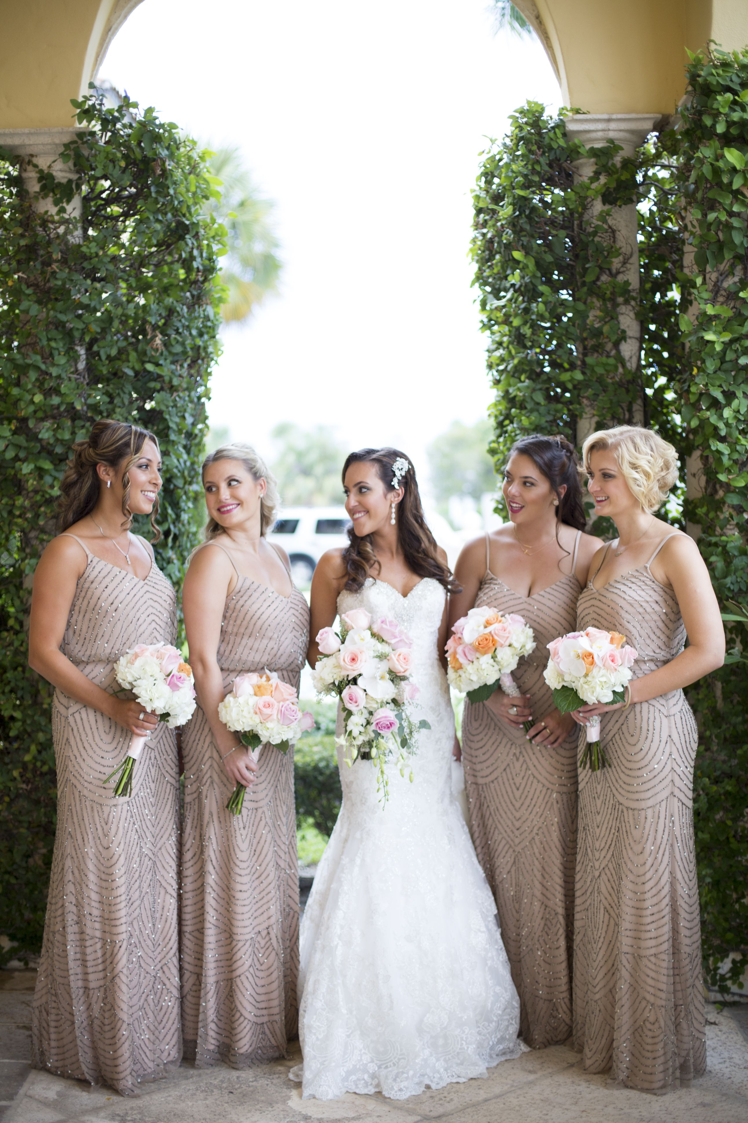 The bride and her girls at the addison champagne bridesmaid the bride and her girls at the champagne bridesmaid dresses soft pink rose bouquets romantic glamor heather funk photography ombrellifo Images