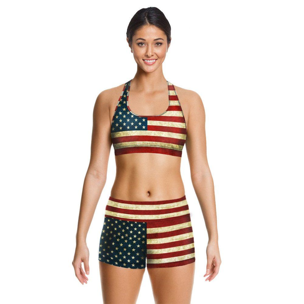 American flag old clothes Women Sport Yoga Set For Gym Running ...