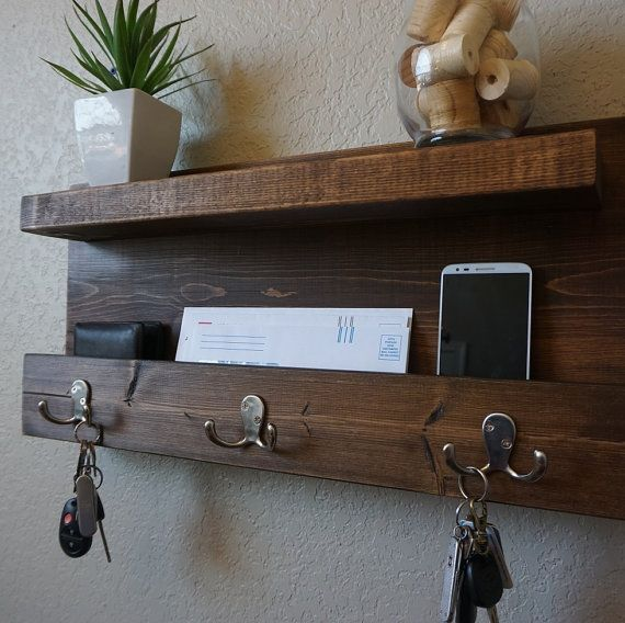 Modern Rustic Mail Organizer Shelf with Magazine Rack and Key Hooks #stainedwood