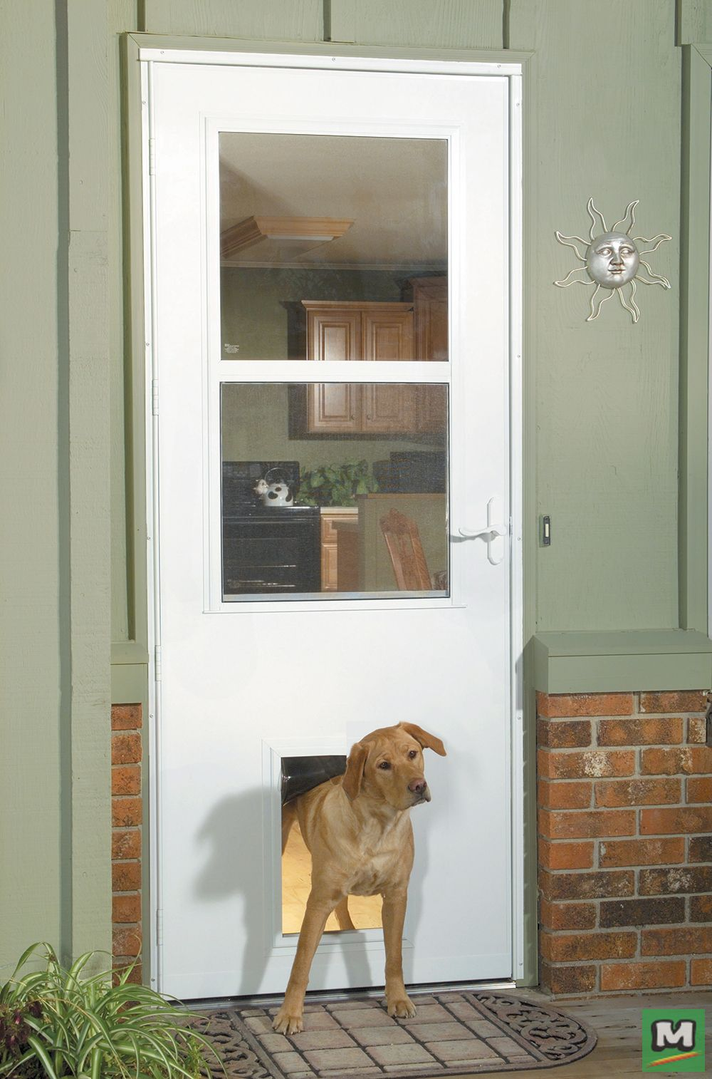 Let Your Pet Out With This Larson Westminster White Finish Self Storing Storm And Screen Door With A Built In Pet Door Larson Storm Doors Storm Door Dog Door