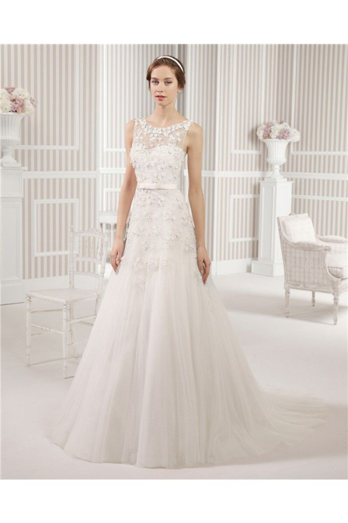 Fairy Tale A Line Scoop Neck Tulle Lace Floral Wedding Dress With Bow Belt