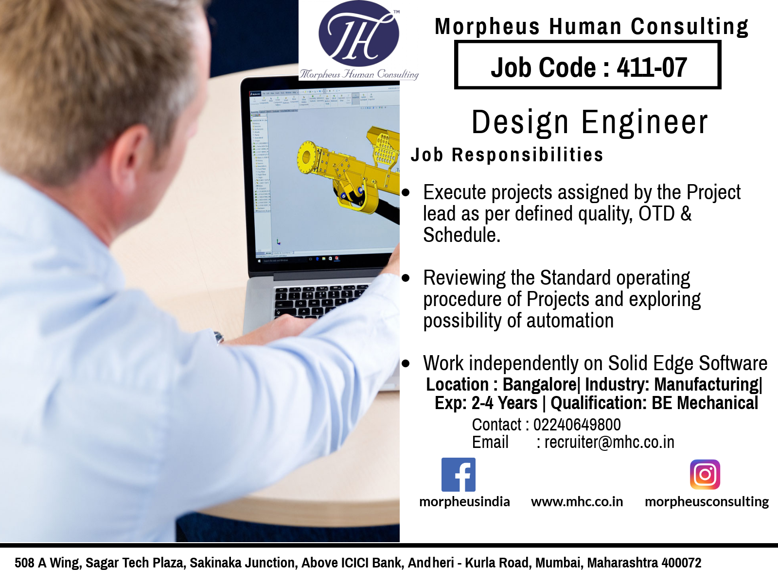 We Are Looking For A Design Engineer In Bangalore For A Leading Manufacturing Company The Ideal Candidate Should Ha Engineering Design Job Posting Job Hunting
