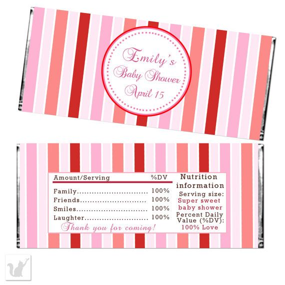Pink Red Stripes Candy Bar Wrapper Baby Girl Shower Etsy 1st Birthday Party Favors Valentine Favors Candy Bar Wrappers