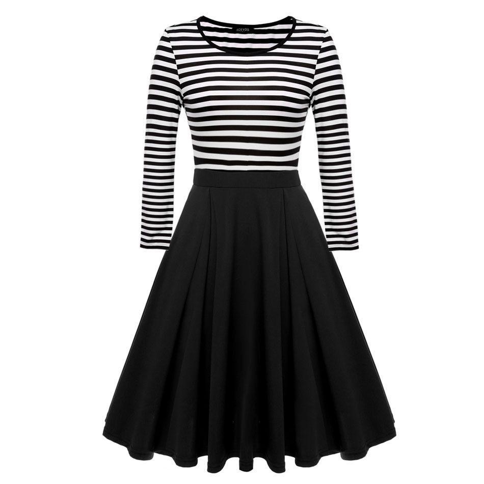 Buy women striped dresses knee length fashion dress black blue