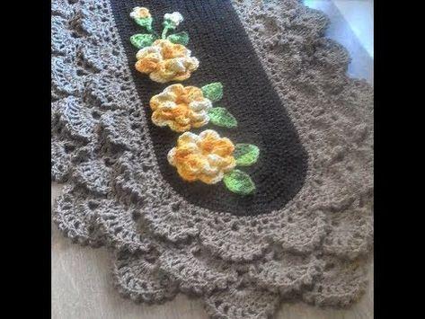 Tapete de crochê com flores: 60 fotos, gráficos e ...
