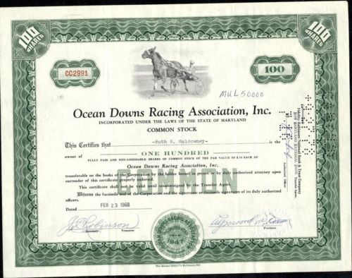 Ocean downs racing association, inc, state of maryland stock - example of share certificate