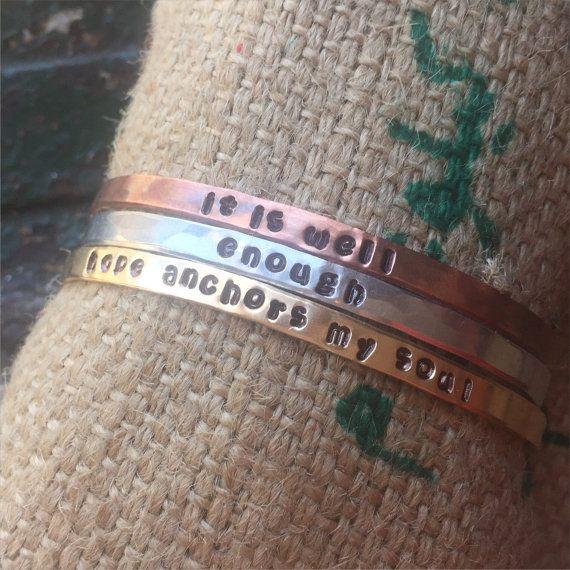 Skinny Cuffs Customizable hand stamped and hammered by Dentit