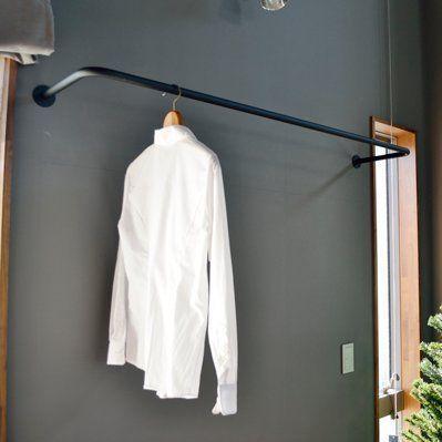 ノーブランド品 アイアン製の物干しパイプ 壁付け 天井吊 洗濯 物干し バー 幅910mmタイプ ブラック 物干し 玄関 コート掛け 洋服クローゼット