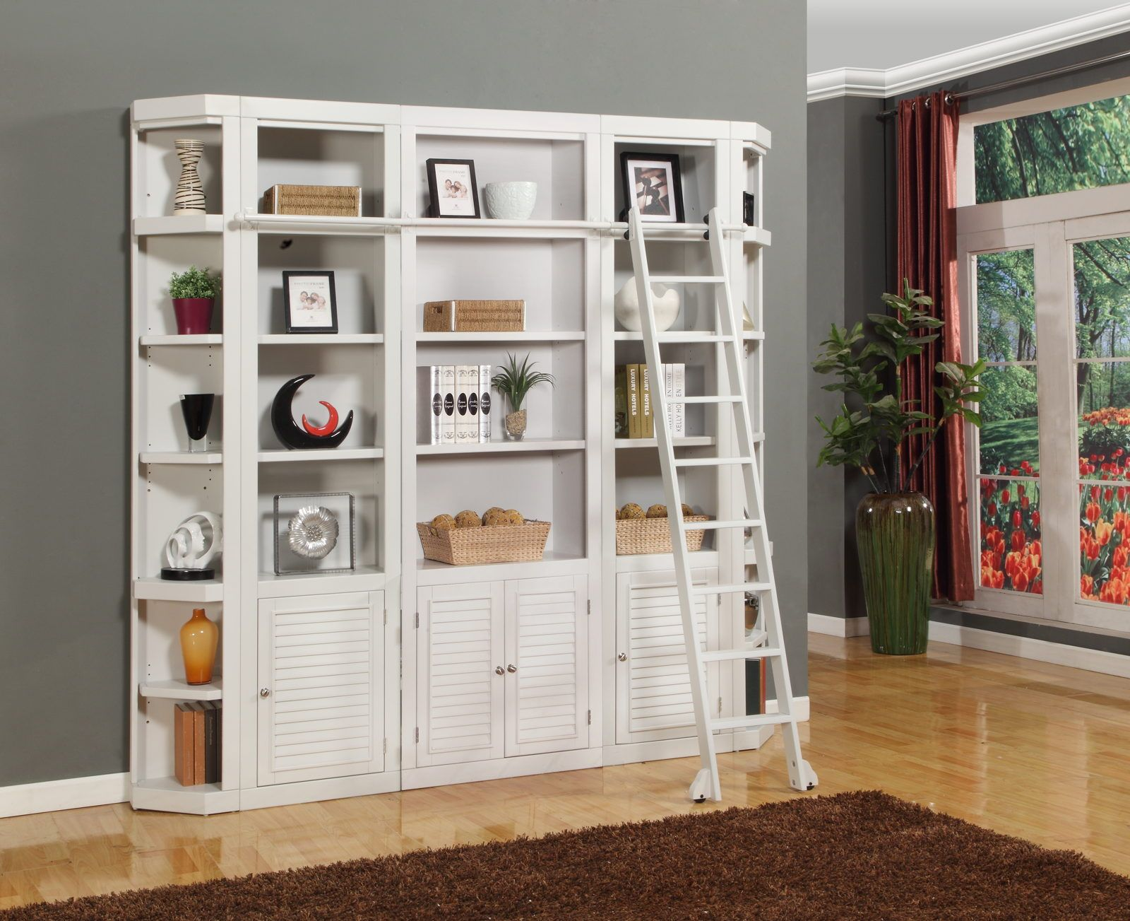 Parker house boca piece bookcase wall with ladder in cottage white